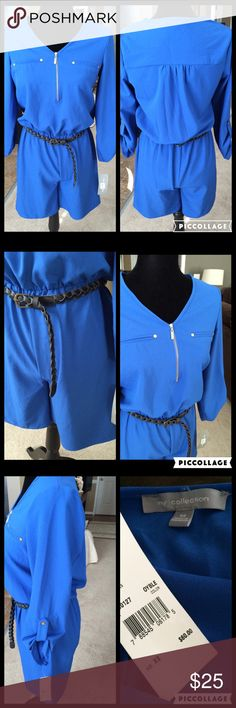 "NY Collection Royal Blue Romper, Size XS NY Collection Royal Blue Romper, Size XS, NWT Super soft and stretchy, elastic waist with black braided belt which can be switched out, 3/4 sleeves with snap accent, half zip front, pull on style, waist 26"" unstretched and can fit up to a 28-29"" comfortably, inseam 6.5"", retail $60 NY Collection Pants Jumpsuits & Rompers"