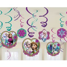 Now you can truly celebrate your birthday with Anna and Elsa with these Frozen hanging swirl decorations. Hang these colorful swirl decorations and have a great time. Perfect for girl's birthday parti