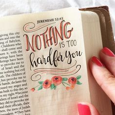 """""""Ah, Lord God! It is you who have made the heavens and the earth by your great power and by your outstretched arm! Nothing is too hard for you. Bible Study Journal, Scripture Study, Bible Art, Bible Drawing, Bible Doodling, Bible Verses Quotes, Bible Scriptures, Bible Notes, Faith Bible"""
