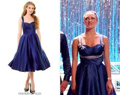 Believe it or not, this is the fourth incarnation of this Unique Vintage dress to be seen on Glee! Do you remember them all? Unique Vintage Navy Satin Happily Ever After Pleated Swing Dress - No...