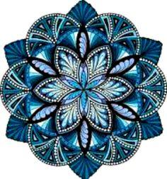 20 Water Slide Nail Art Decals Kuanyin Mandala Blue Trending 3/8 Th Inch