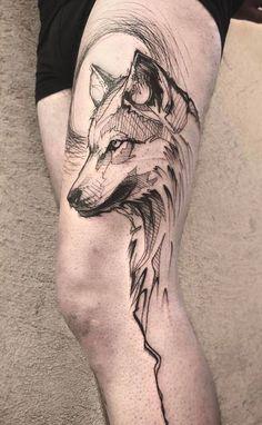rysunek wilka na udzie wzory tatuaży