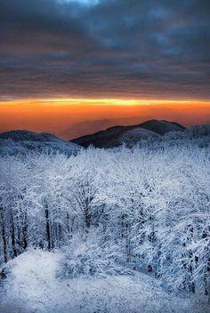 sunset after a winter snowstorm