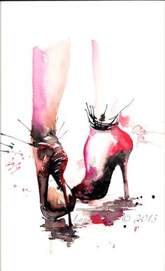 Red Stiletto Original Watercolor Painting - Fashion Watercolor Illustration by Lana Moes