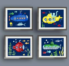 submarine ART FOR BOYS NURSERY OR BEDROOM (AS SHOWN IN FIRST AND SECOND PHOTOGRAPH) SET OF six 8X10 GICLEE PRINTS (20.3cmX25.4cm) FRAMES ARE NOT INCLUDED! All prints are made from my original watercolor paintings created by me in my studio, the old fashioned way (a paintbrush, a little