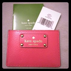 """NWT Kate Spade Credit Card Holder NWT Kate Spade Graham card holder in """"Caberetpnk."""" Has 3 card slots and an open middle pocket for cash! ⛔️No Trades Please!⛔️ kate spade Bags Wallets"""