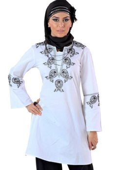 Fida safed Kurti, White Kurti with contrasting black thread work and hand worked to enhance the beautiful paisley motifs on patch on V neckline. http://suliaszone.com/fida-safed-kurti-white-xl/