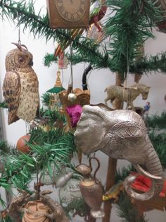 Amazing antique Dresden ornaments on German feather tree