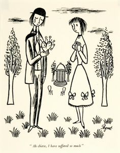 """Raymond Peynet 'Ah cherie, I have suffered so much' Original #illustration, as published in the """"Lovers Bedside book"""", 1956."""