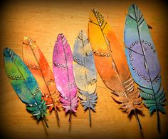 paper feathers, maybe water color on paper and pens