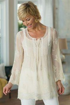Silk Victoria Top - Crinkle Silk Top, Sheer Silk Top | Soft Surroundings