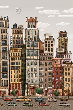 Sand City - Illustration on Behance Cityscape Drawing, City Drawing, Building Drawing, Building Sketch, Cartoon Drawings, Easy Drawings, Easy Landscape Paintings, Hallway Art, City Illustration