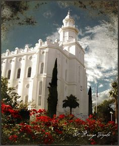This of inspirational art is a lovely depiction of the LDS temple located in the city of St. George, Utah that will calm the story soul of any passerby who beholds it.