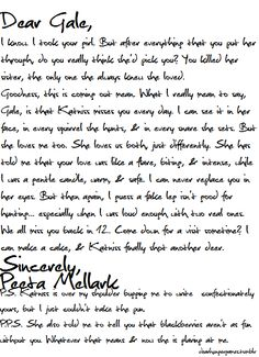 Letter to gale from PEETA! Katie this is for you since your team gale and I'm PEETA!!! Love ya! <3