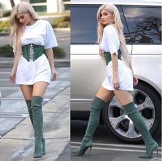 Awesome Men's Summer Style street outfits| kylie jenner in men oversized t-shirt corset belt and high boots... Check more at http://24myshop.tk/my-desires/mens-summer-style-street-outfits-kylie-jenner-in-men-oversized-t-shirt-corset-belt-and-high-boots/