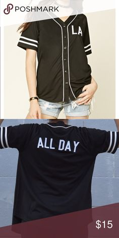 Baseball Jersey Black jersey in perfect condition, worn once only. No sign of wear. Forever 21 Tops Button Down Shirts