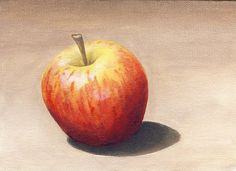 This is my second go at oil painting 5 x 7 oil on canvas Apple Painting, Color Pencil Art, Paintings I Love, Colored Pencils, Still Life, Oil On Canvas, Draw, Fruit, Abstract