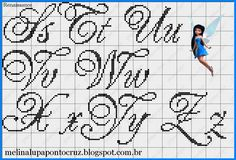 Alfabeto Ponto Cruz filet crochet cursive alphabet