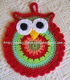 Owl Crochet Patterns, Crochet Owls, Crochet Potholders, Crochet Squares, Crochet Flowers, Crochet Baby, Crochet Kitchen, Crochet Home, Crochet Crafts