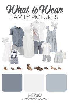 What to Wear for Family Pictures: White & Chambray Blue. This Look would be perfect for what to wear for beach family photos! This link includes 5 different options for what to wear for family pictures from babies and toddlers to adults. Each look has links included and 5 completely different color schemes for Family Photos. Hopefully this will make your what to wear for Family pictures decisions a lot simpler. Spring Family Pictures, Family Pictures What To Wear, Beach Family Photos, Family Portraits What To Wear, Family Pics, Family Photography Outfits, Family Portrait Outfits, Beach Picture Outfits, Family Picture Outfits