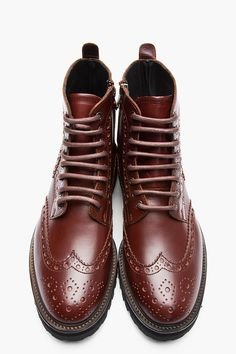 JUUN.J Burgundy Leather LACE-UP Brogue BOOTS