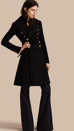 Black Wool Cashmere Military Coat - Burberry
