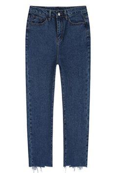 Unfinished Trim Ninth Jogger Jeans DEEP BLUE: Denim | ZAFUL