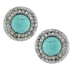 Turquoise Diamond Gold Earrings | From a unique collection of vintage clip-on earrings at https://www.1stdibs.com/jewelry/earrings/clip-on-earrings/