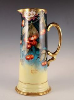 1890s Hand Painted Pickard China Limoges Porcelain Cherries Blossom 13.5 Pitcher