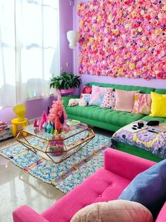 Small Living Room Design, Colourful Living Room, Boho Living Room, Living Room Designs, Bright Living Room Decor, Bedroom Pop Design, Living Room Colors, Diy Furniture Couch, Reclaimed Furniture