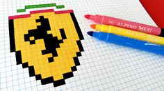 Handmade Pixel Art - How To Draw Ferrari Logo #pixelart