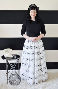 Music note Skirt full pleated and gathered long maxi ball skirt on Etsy, $120.00