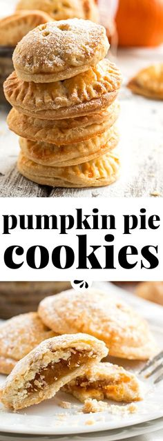 Every single one of these cookies is like a mini pumpkin pie - an absolute must-make recipe for the Thanksgiving or Halloween dessert table! They are so adorable. Because they're bite-sized they are a great recipe for a buffet style holiday party. Best Cookie Recipes, Pumpkin Recipes, Fall Recipes, Baking Recipes, Holiday Recipes, Pumpkin Pie Cookies Recipe, Baking Cookies, Baking Desserts, Dip Recipes