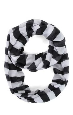 Deb Shops Striped Woven Infinity Scarf $6.00