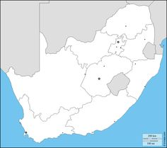 South Africa : free map, free blank map, free outline map, free base map : boundaries, provinces, main cities