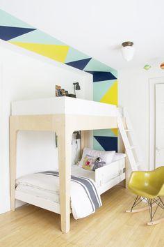 Color Blocking in the Boys room using Clark+Kensington Paint