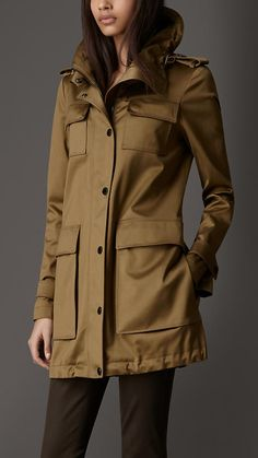 burberry stretch cotton hooded military jacket