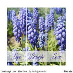 Live Laugh Love I Blue Flowers