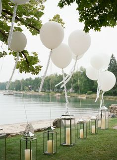 A Fun-Filled Wedding Weekend in Northern Michigan - wedding ideas - Wedding Balloon Decorations, Wedding Balloons, Wedding Ideas With Balloons, Table Decorations, Perfect Wedding, Dream Wedding, Deco Baby Shower, Photos Booth, Bright Decor