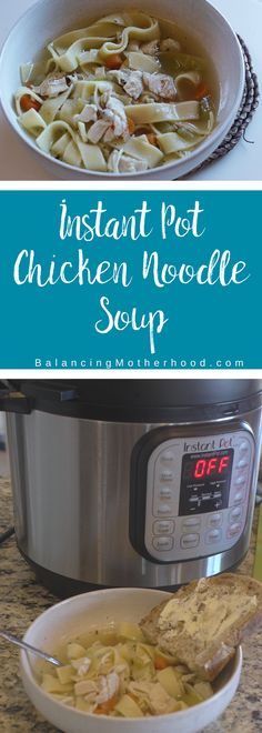 Easy to make Instant Pot chicken noodle soup with frozen chicken! Have homemade chicken noodle soup in no time with this simple recipe. I made it on a day when I was sick and needed comfort food - the Instant Pot did the trick. Save this chicken noodle soup recipe - you're going to want it in your files. #instantpot #soup