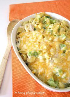 Alfredo, chicken, and broccoli casserole