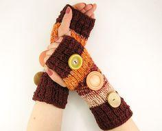 knit fingerless gloves arm warmers fingerless mittens women rusty brown orange brown tagt team teamt