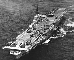 """USS Philippine Sea with Douglas AD Skyraiders and Grumman Panthers on the flight deck, off the coast of Korea, Nov Philippine Sea was a """"long-hull"""" Essex-class ship, sometimes called the Ticonderoga-class. Essex Class, American Aircraft Carriers, Ticonderoga Class, Navy Aircraft Carrier, Go Navy, Us Navy Ships, Naval History, Armada, Flight Deck"""