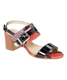 Red & Black Leather Lamberto Sandal