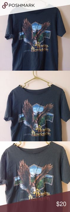 Vintage HARLEY DAVIDSON Eagle Michigan T-shirt Whether you're a Harley Fan or Lover of Vintage Grunge Feels, this is the shirt for you. Cut collar and worn-in vintage feel. Harley-Davidson Tops Tees - Short Sleeve