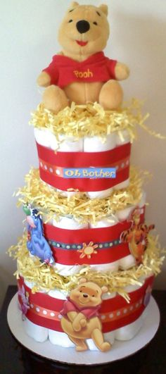 Diaper Cake for Boy or Girl WINNIE THE POOH Diaper by BabyCakesMN, $49.00