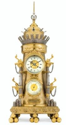 A FRENCH ORMOLU AND SILVERED BRONZE AUTOMATON CLOCK AND BAROMETER THE CLOCKWORKS BY SAMUEL MARTI, CIRCA 1889 Modeled as a fortress with rotating gun turret, barometer and thermometers, raised on canon ball-shaped feet, with three plaques engraved GOLD