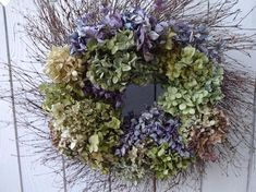 Twig Wreath, Green Wreath, Hydrangea Wreath, Floral Wreath, Door Wreath, Autumn Wreaths For Front Door, Holiday Wreaths, Shabby Chic Wall Decor, Green Gifts