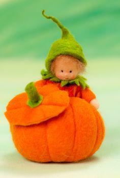 Little pumpkin feltfigure for the fall nature by lepetitagneau