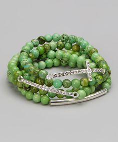 This Green Howlite & Silver Sparkle Cross Stretch Bracelet Set by Barse is perfect! #zulilyfinds